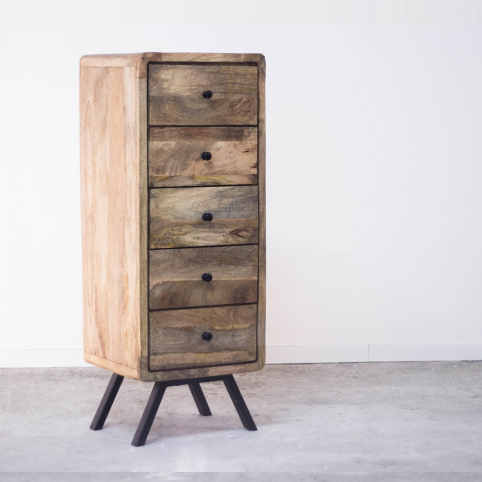 meuble colonne de rangement en bois recycl. Black Bedroom Furniture Sets. Home Design Ideas