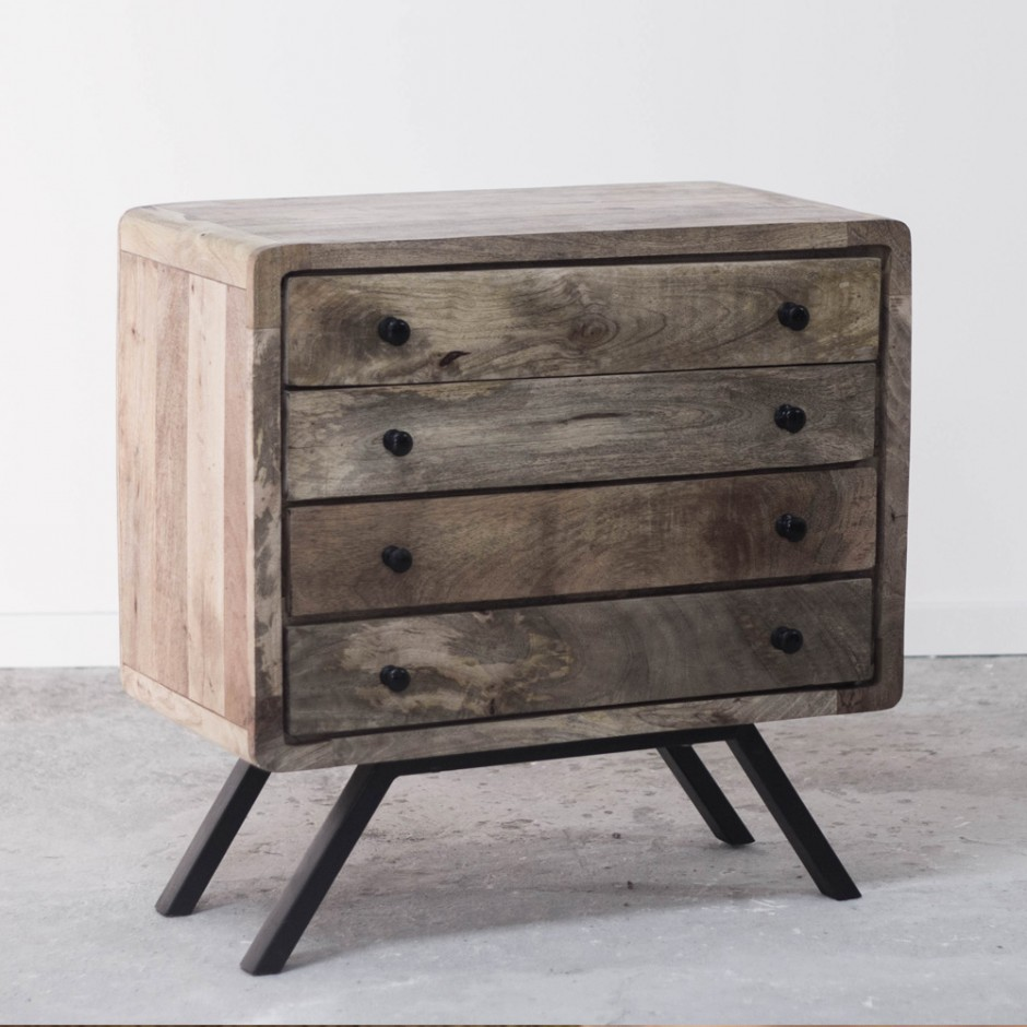 meuble commode de rangement en bois recycl style scandinave. Black Bedroom Furniture Sets. Home Design Ideas