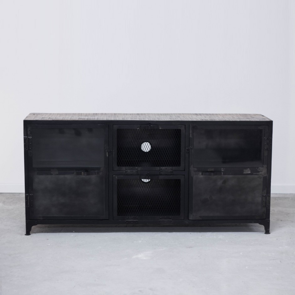 meuble tv bahut commode industriel en bois et fer 6 rangements. Black Bedroom Furniture Sets. Home Design Ideas
