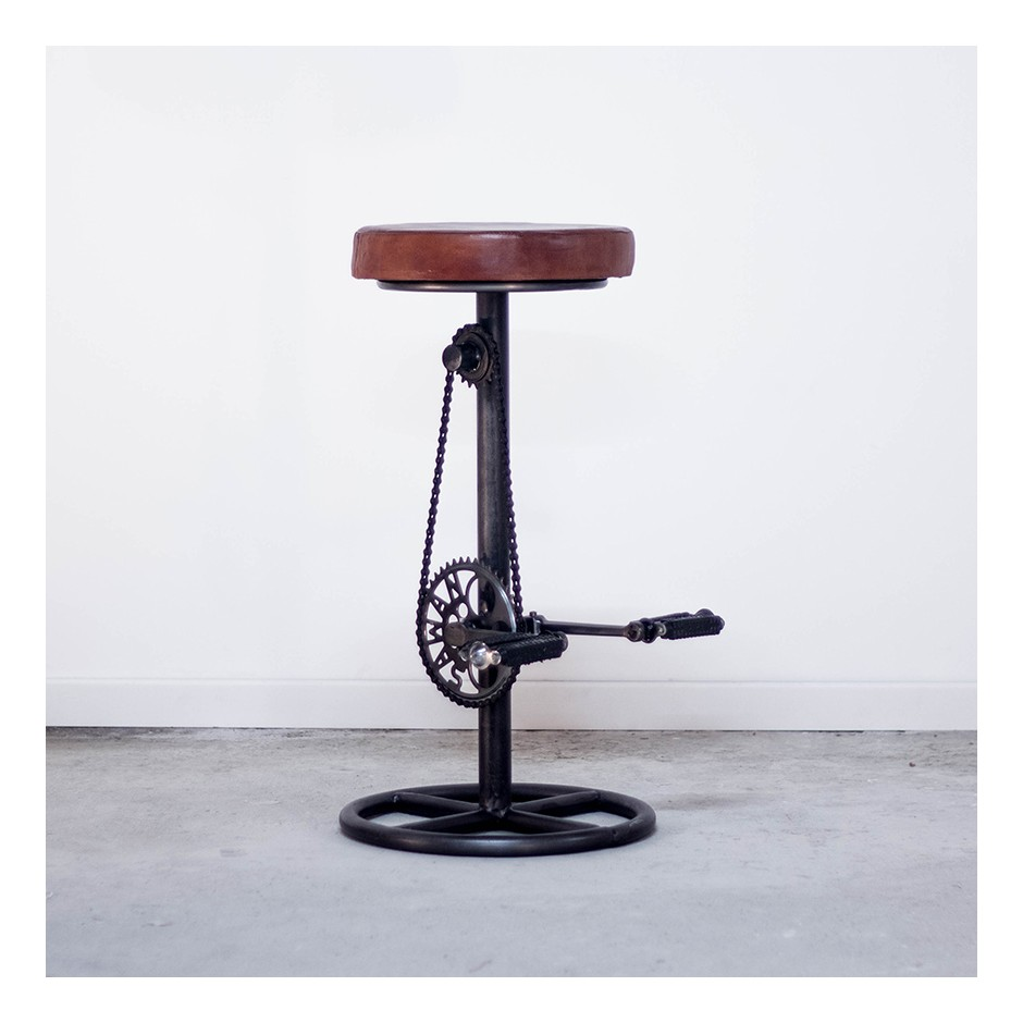 Tabouret de bar cuir marron