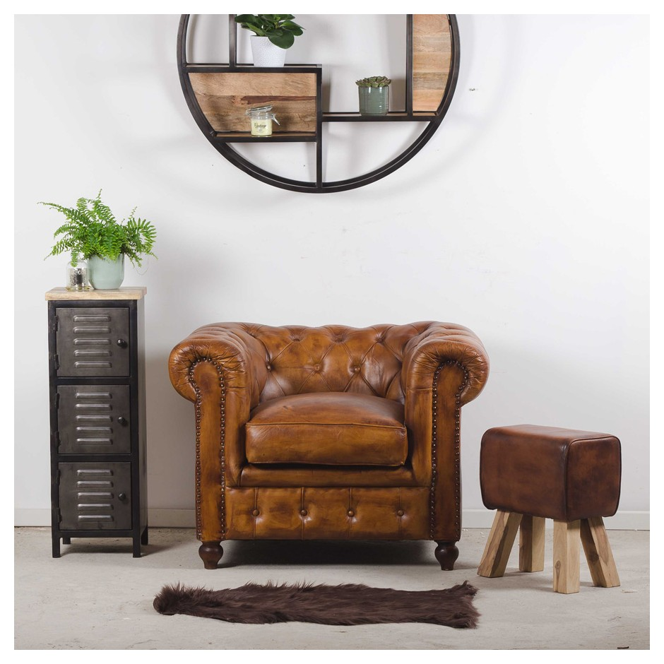 Fauteuil chesterfield cuir vintage