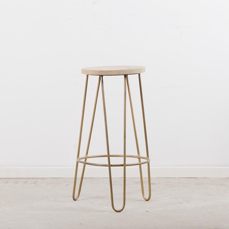 Tabouret de bar pied épingle assise en bois style art déco
