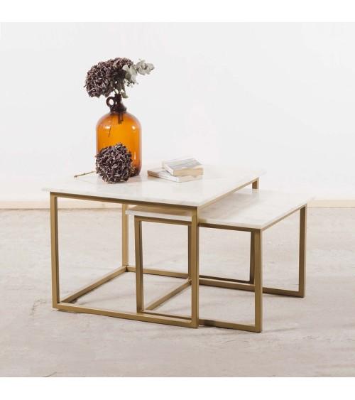 Table gigogne marbre blanc