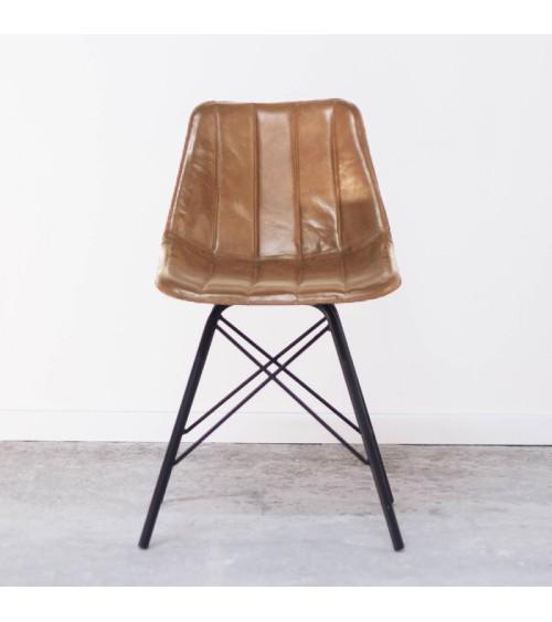 Chaise en cuir industrielle camel