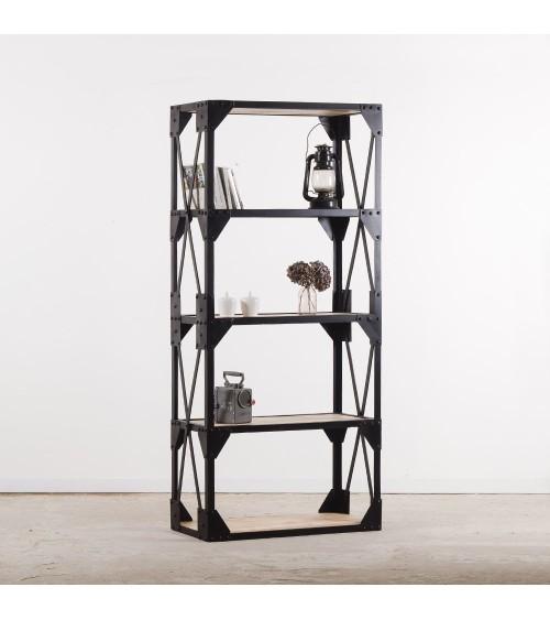 Bibliothèque industrielle bois métal