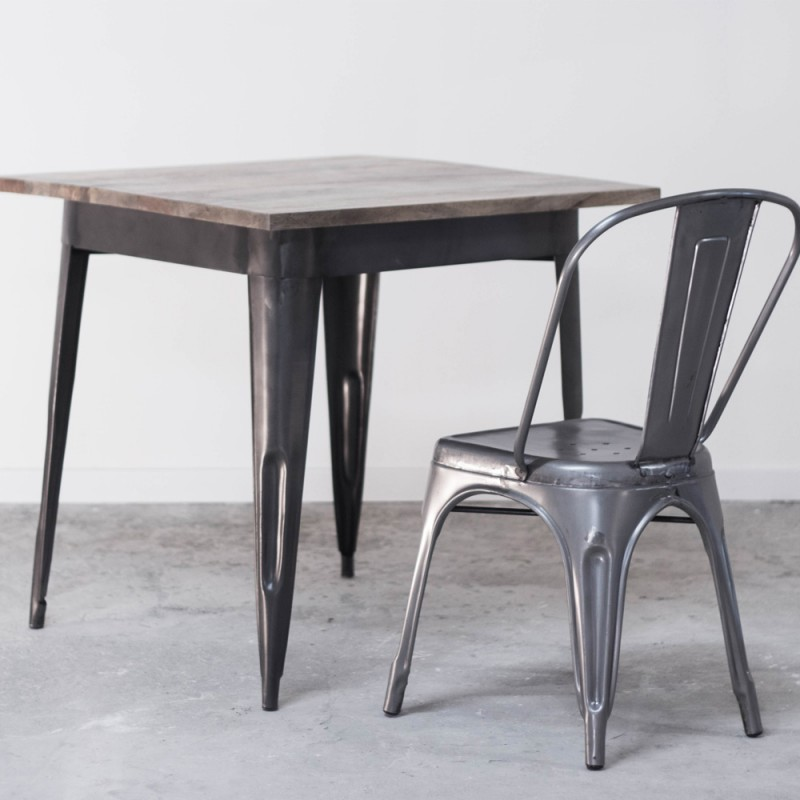 table de salle manger industrielle en bois et m tal style bistrot. Black Bedroom Furniture Sets. Home Design Ideas