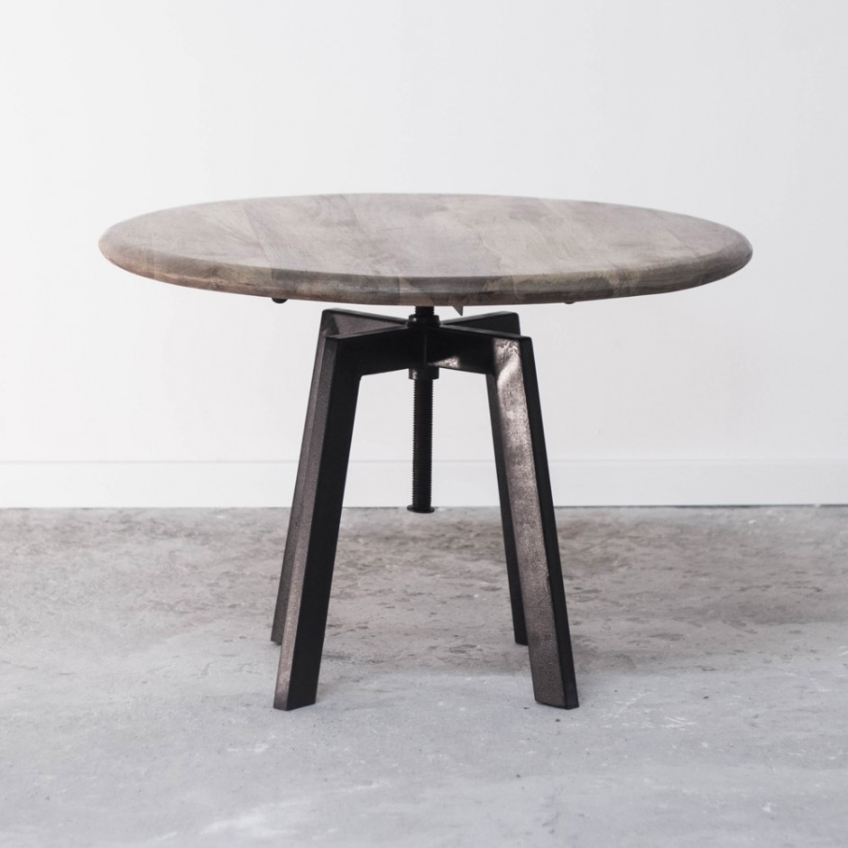 Table basse de salon ronde industrielle en bois et m tal - Table basse metal ronde ...