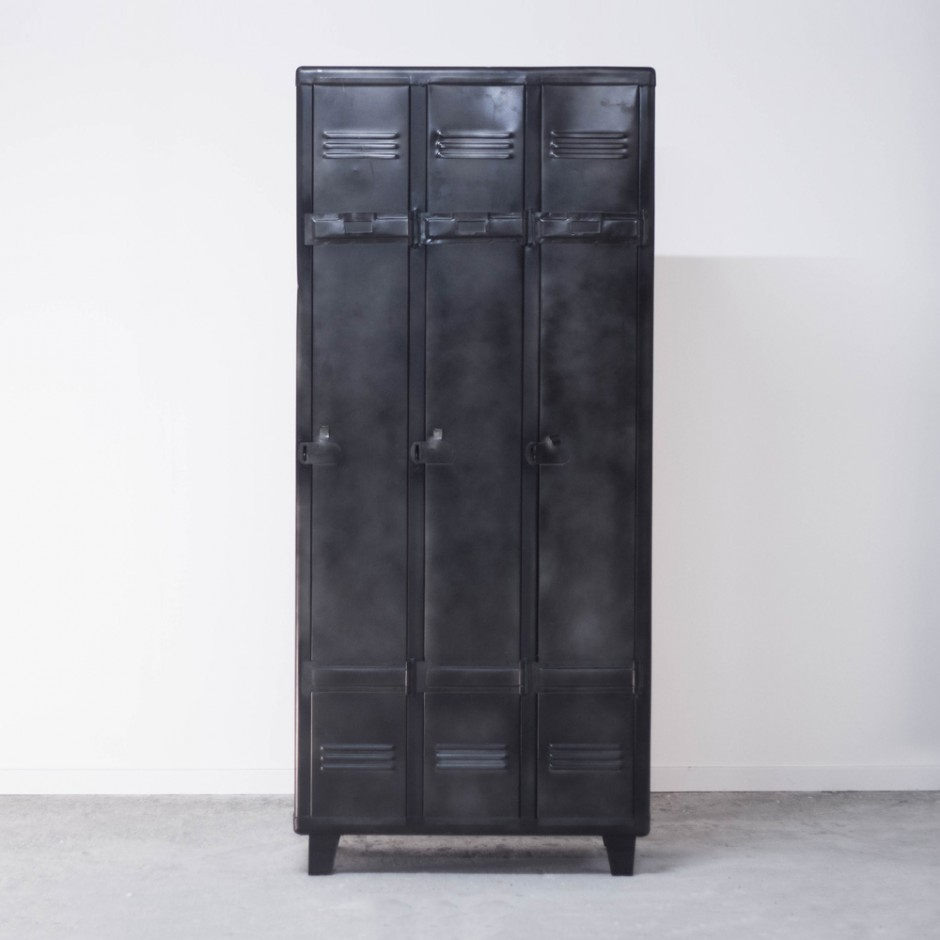 meuble d 39 atelier industriel 3 casiers en m tal gris noir esprit usine. Black Bedroom Furniture Sets. Home Design Ideas